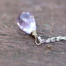 Natural Pink Amethyst Pendant Solid 14K White Gold Wire Wrapped 6th Anniversary