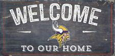 "Minnesota Vikings Welcome to our Home Wood Sign - 12"" x 6""  Decoration Gift"