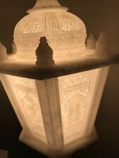 Vintage! Unique! Carved Out Marble Table Lamps, Pair