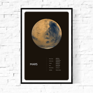 Planet Mars From Space Facts Fine Art Premium Canvas Giclee Print