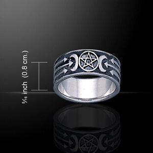 Pentagramm Pentakel Triple Mond .925 Sterlingsilber Ring Von Peter Stone Fein