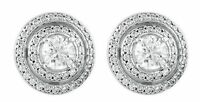 1 carat total Round cut Diamond Stud Earrings 14K Gold G color SI1 clarity