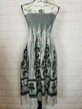 Lapis Anthropologie Women's Silver Black Sequin Stretch Strapless Dress One Size