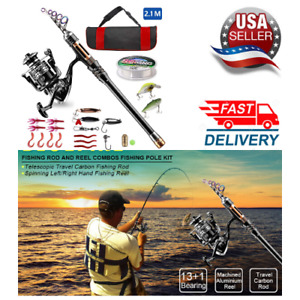Fishing Rod Reel Combos Carbon Fiber Telescopic.Pole Spinning Reel Line Lures