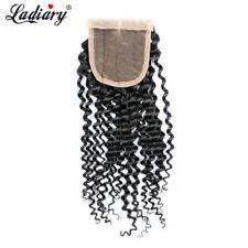 "Kinky Curly Lace Frontal Closure 4*4"" Top Closure Brazilian Virgin Hair Closure"
