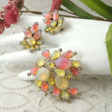 Vintage Neon Yellow Orange Givre Glass Rhinestone Cluster Pin Brooch Earring Set