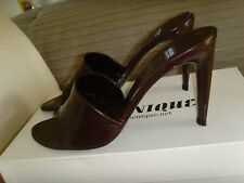 ShoeNique Leather High Heel Mules - Chocolate Brown
