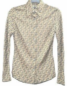 Authentic FENDI Zucca Blouse Shirt Rayon Polyester 26Inch Brown C3321