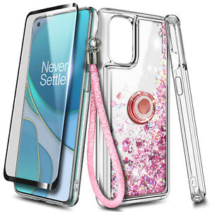 For OnePlus Nord N200 5G Case, Liquid Glitter Cover + Tempered Glass & Lanyard