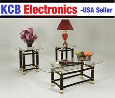 (1 Coffee + 2 End Tables) Glass Black Gold Horn Modern Cocktail Living Room SET