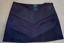 "M&S PURPLE Faux LEATHER PU 15"" Mini SKIRT M uk12eu38us8 Waist w32ins w81cms"
