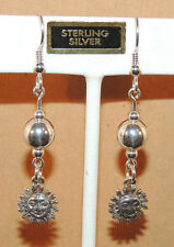 Sterling Silver Ball and Sun Wire Earrings  (9587)