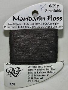 Rainbow Gallery Mandarin Floss bamboo 6 ply strandable 20 yard M898 dark gray