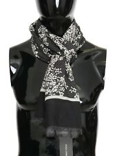 NEW $600 DOLCE & GABBANA Scarf Black 100% Cashmere White Floral Pattern 170x66cm