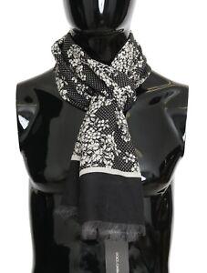 NEW DOLCE & GABBANA Scarf Black 100% Cashmere White Floral Pattern 170x66cm