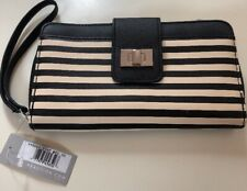 NEW KENNETH COLE REACTION BLACK & WHITE CREAM STRIPES PURSE WALLET CLUTCH
