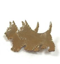 terrier scottie scotty dog pin brooch Chic 1940s gold tone metal double Scottish