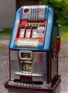 Antique Original Mills Quarter Slot Machine Hi Top Triple 7s, Mills 777 Slot