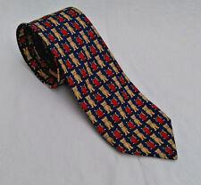 Teddy Bear 100% Silk Tie Vintage St michael Marks & Spencer Blue Red UK made m&s