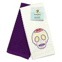 Kitchen Dish Towel Set of 2 - 16 x 26 - Embroidered Sugar Skull Pattern - Cotton