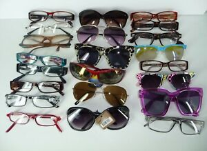 Various Designers 22 Pair Multicolor Mixed Styles Unisex Eyeglass Sunglasses Lot