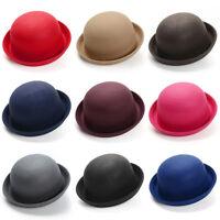 Women Kid Cute Wool Felt Bowler Hats Dome Fedora Cloche Derby Warm Bell Top Caps