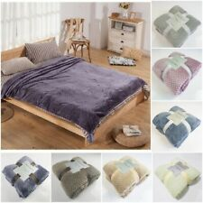 Winter Flannel Blankets Soft Fluffy Thick Coral Fleece Mink Throw Warm Bed Cover