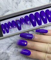Pukka Purple Beauty Glitter Ombre False Fake Extra Long Coffin Nails Set