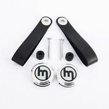 Vintage Leather door pull handle kit, silver logo, Mazda MX-5 mk1 JDM Eunos MX5