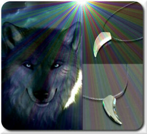 Necklace Wolf Tooth Chain Pendant Metal Surfer Silver Grey