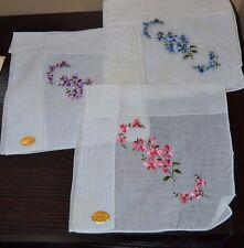 3 VINTAGE RN 16102 Blanco Boda Pañuelo Pañuelo bordado flores