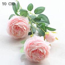 Fake Rose Artificial Silk Peony Pink Flowers Bridal Wedding Bouquet Home Decor