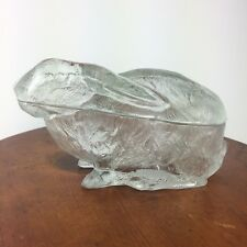 Vallerysthal French Clear Glass Rabbit Candy Trinket Lidded Dish Easter Bunny