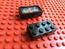 LEGO (7049) 2x4 NERO BLACK PER RUOTE TRENO 1 Mattoncino Brick Basic Steine
