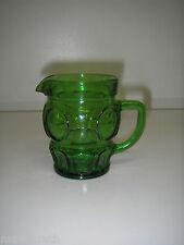 "Wheaton Glass BULLSEYE Green Creamer 8 oz 3½""  Panels & Dots"