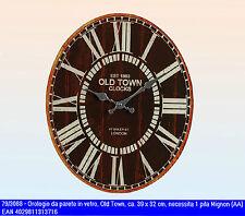 Orologio da muro parete ovale in vetro cm 39*32 stile vintage Old Town 1883