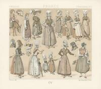 ANTIQUE MEDIEVAL COSTUME FISHERWOMAN HAT OF FRANCE DONKEY CHROMOLITHOGRAPH PRINT