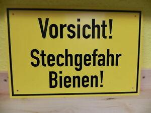 """Warnschild """"Vorsicht ! Stechgefahr Bienen"""" 30x20cm Imker,Imkerei,PVC,bee"""