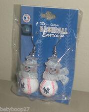 New York Yankees Womens Girls Christmas Holiday Winter Baseball Snowman Earrings