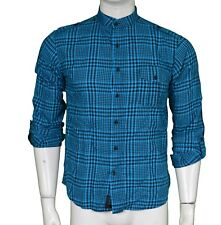 B-Side By Wale Blue Check Grandad Collar Men's Size S Small