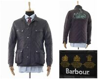 Men BARBOUR INTERNATIONAL Ariel Quilted Quilt Coat Jacket Motorcycle Grey Size L