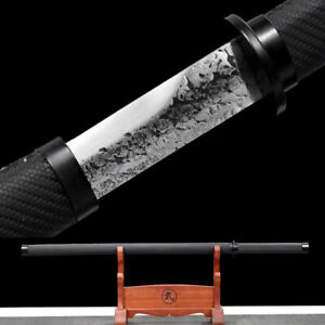 NEW 9260 Spring steel Japanese Ninja Real Combat Ready Samurai sword Black Saber