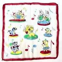 VTG Handkerchief Children's Childs Hanky Musical Circus Animals Lion Cat Bunny