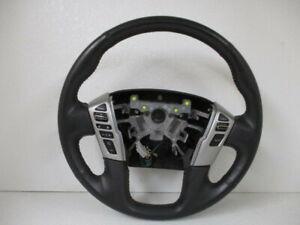 17 2017 Nissan Titan Black Leather Steering Wheel w/ Media Controls OEM LKQ