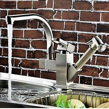 Nickel Brushed Kitchen Faucet Swivel Spout Pull Out Hand Sprayer Mixer Tap NEW