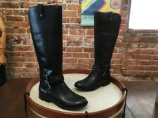 Marc Fisher Black Leather Wide Calf Riding Boots 6.5 NEW Audrey