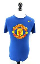 NIKE MANCHESTER UNITED Mens T-Shirt Top S Small Blue Cotton Football Slim Fit