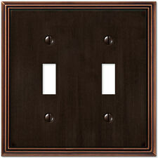 METRO LINE AGED BRONZE DOUBLE (2) TOGGLE SWITCHPLATE WALLPLATE :: AMERELLE