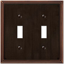 Metro Line Aged Bronze Double (2) Toggle Switchplate Wallplate : Amerelle