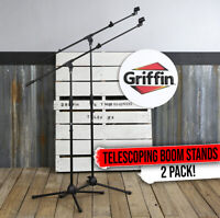 GRIFFIN Tripod Microphone Boom Stand 2 PACK - Telescoping Mic Studio Arm Mount